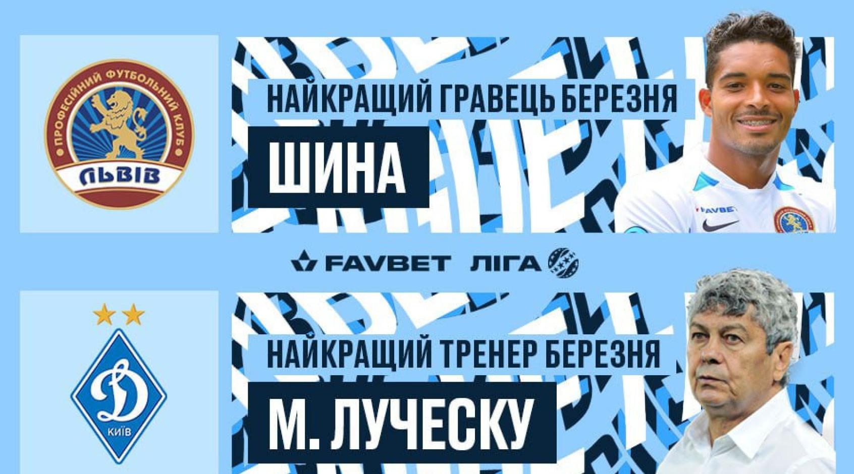 Шина і Луческу — найкращі гравець і тренер місяця Favbet Ліги