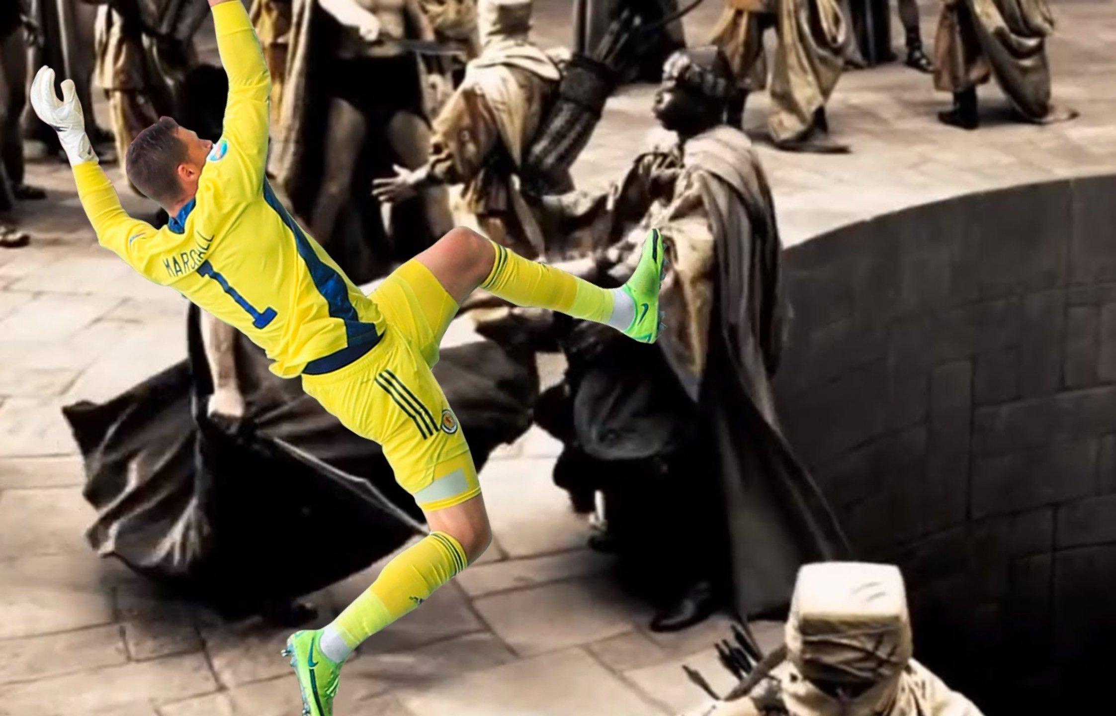 Прыжок вратаря сборной Шотландии Маршалла высмеяли в соцсетях после матча с Чехией (Фото) - изображение 18
